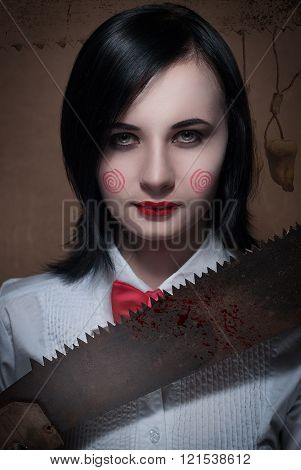 The girl with the saw movie cosplay makeup