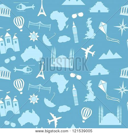 Seamless vector pattern background travel, vacation, famous places