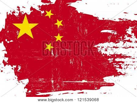 Chinese scratched Flag. A Chinese flag with a grunge texture