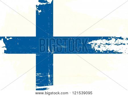 Finnish scratched Flag. A finnish flag with a grunge texture poster