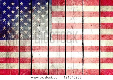 United States grunge wooden flag.