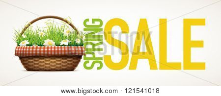Spring Sale themed design template.Vector illustration of realistic wicker basket. grass and daisy flowers in wicker basket.  Elements are layered separately in vector file.