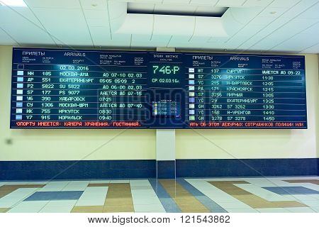 Novosibirsk, March 02, 2016: Timetable Board At The Airport Tolmachevo