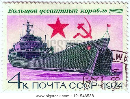 Ussr- Circa 1974: A Stamp Printed By Ussr, Shows Large Soviet Warships Landing Craft, Circa1974