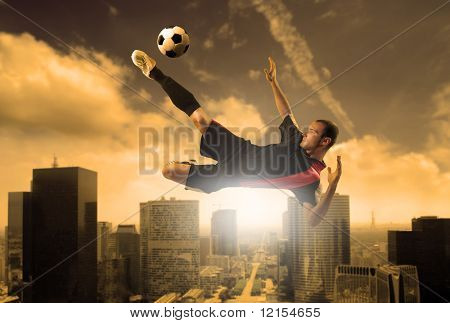 soccer player in action on a city background