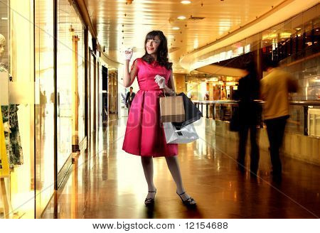 old fashioned woman in a shopping center