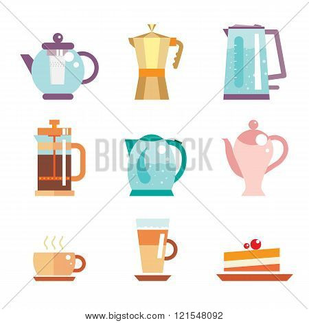 Vector set of tea pot and coffee