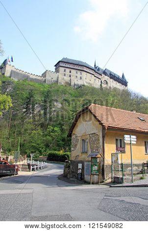 Karlstejn, Czech Republic - April 30, 2013: Main Street Leading To The Karlstein Castle, Karlstejn,
