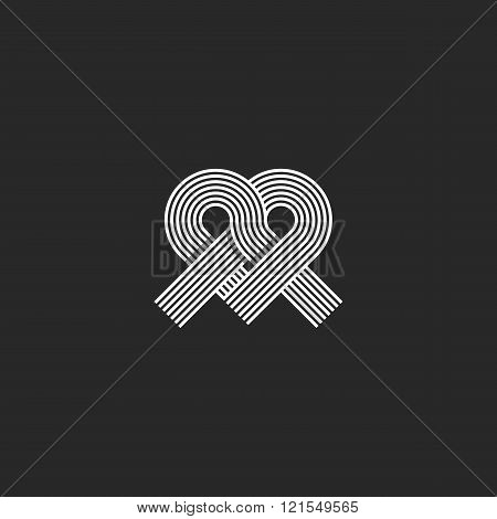Heart Logo Monogram Shape Knot, Wedding Invitation Design Element, Crossing Offset Thin Line Overlap