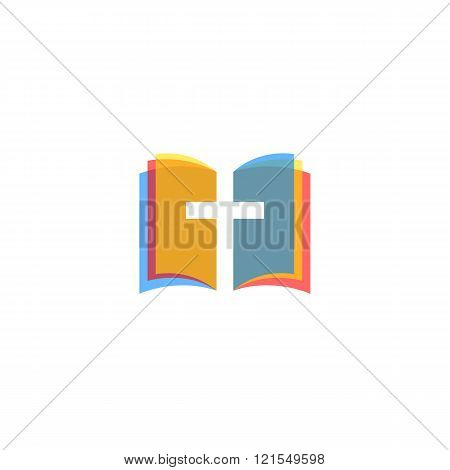 Holy Bible icon colorful pages religion logo church gospel symbol mockup poster