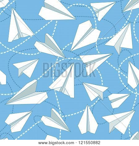 Paper planes and tangled lines seamless pattern. Repeating abstract background with paper planes and dashed lines. EPS8 vector illustration includes Pattern Swatch. poster