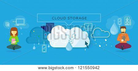 Cloud Storage Design Flat Concept