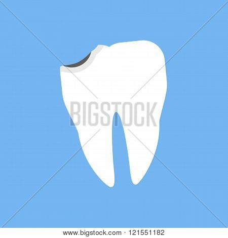 Broken White Tooth Design Flat