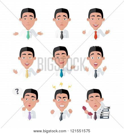 Variety of Emotions Office Worker