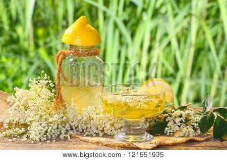 elderflower with lemon liqueur to be processed