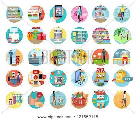 People in Supermarket Interior Design