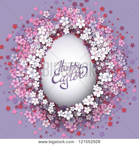 Happy Easter background with frame flowers