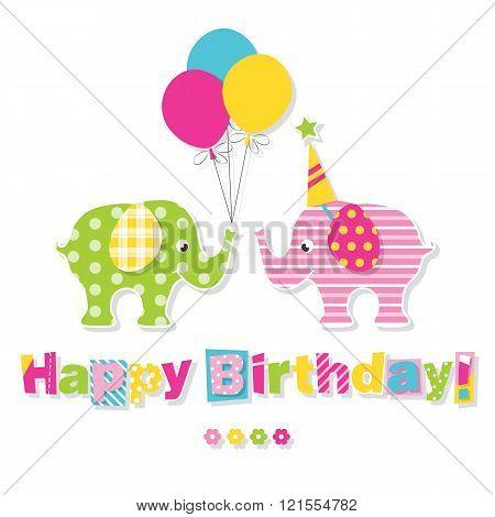 happy birthday elephants greeting card
