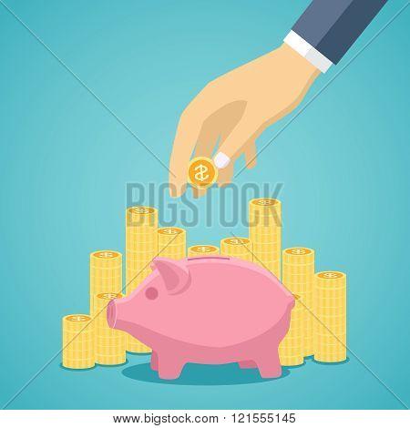 Money saving concept in flat style design.