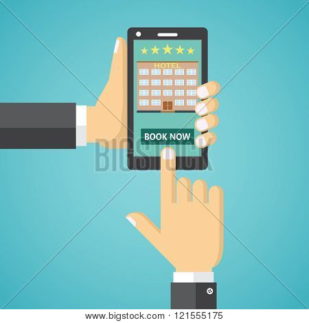 Booking a hotel room on a mobile device.
