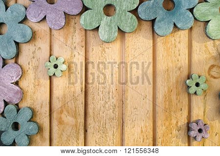 Colorful Wooden Flowers On Wooden Background, Decoration
