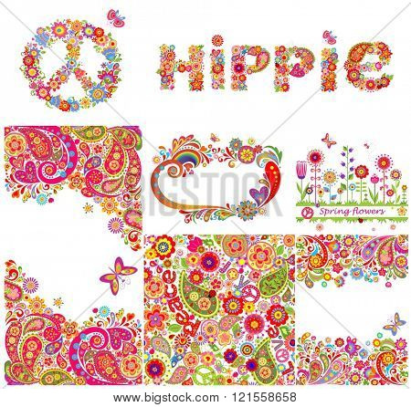 Set of hippie backgrounds and design elements