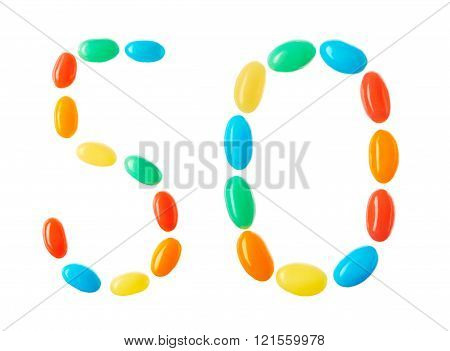 50 Number Made Of Multicolored Candies Isolated On White