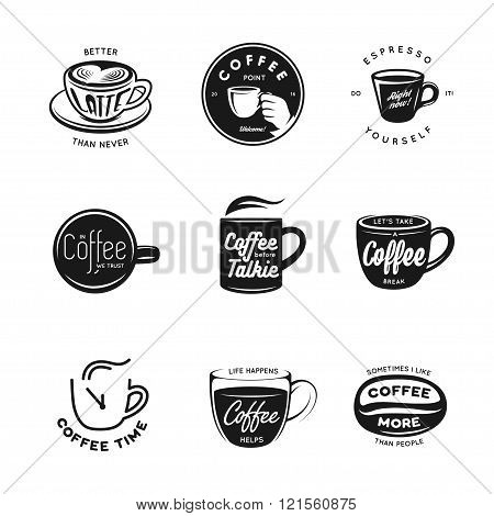 Coffee related labels, badges and design elements set.