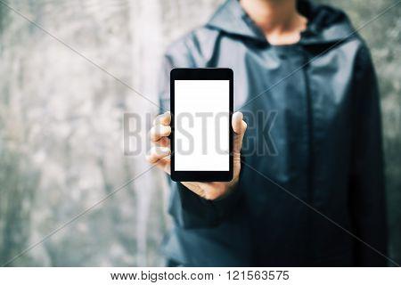 Girl Holding White Smartphone