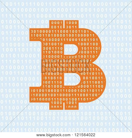 Vector Bitcoin symbol. cryptography illustration with figures
