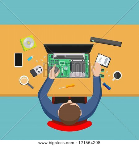 Computer Service. Man Repairing Computer, Pc Repairer.