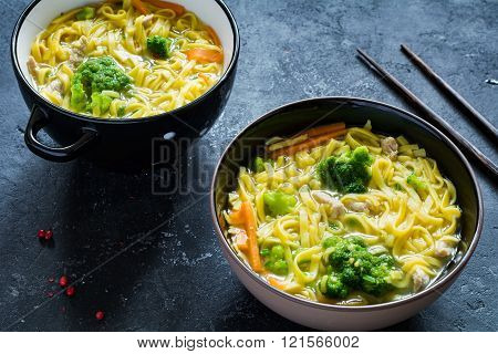 Ramen - asian noodle soup with vegetables and meat