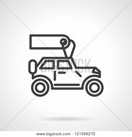 Automobiles for rent black line vector icon