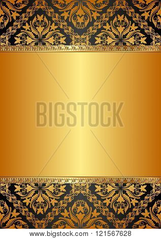golden background with baroque ornaments - vector illustration