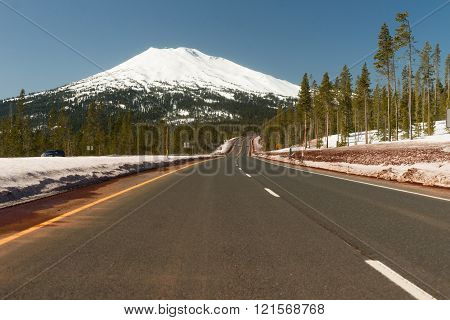 The road to Mt Bachelor in the Oregon Cascades