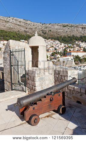 Cannon On City Walls Of Dubrovnik, Croatia (unesco Site)