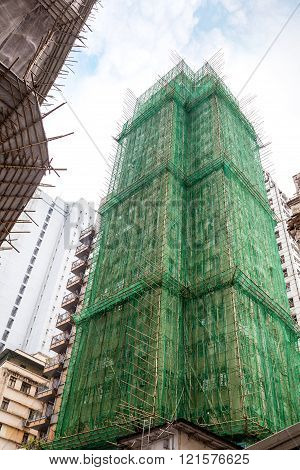 Traditional Bamboo Scaffolding In Building Construction