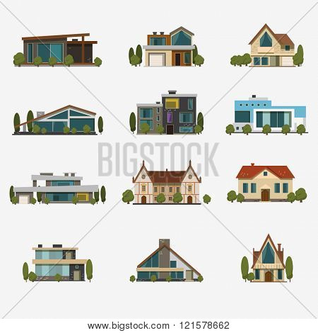Houses icons. Set of 12 icons flat design vector images.