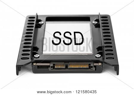 Computer SSD drive isolated on white background