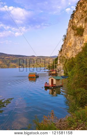 River Drina - national nature park in Serbia - travel background