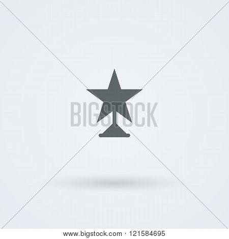 Vector icon of winner star statuette. Logo.