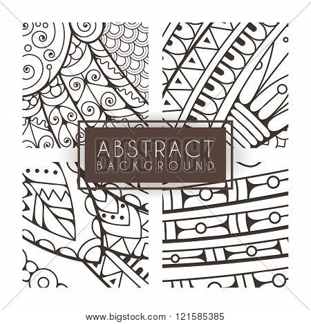 Set of four vector monochrome intricate patterns. Doodle. Zentangle. Monochromatic