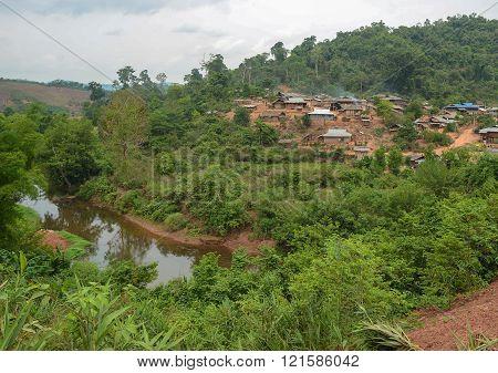 Phongsaly, Laos - May 4, 2014 :  Hmong Mountaineer Village Near Phongsaly Province, Northern Laos