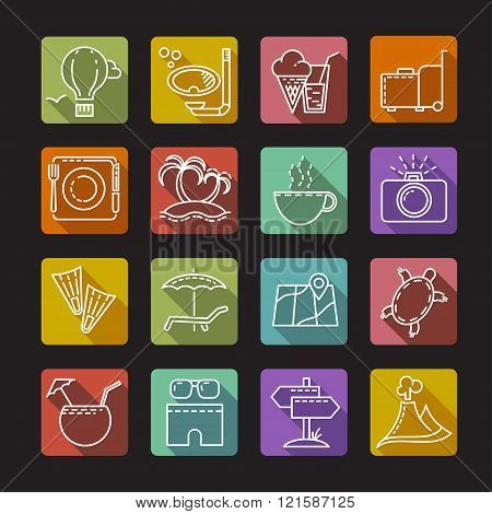 Set of icons on a tourist theme