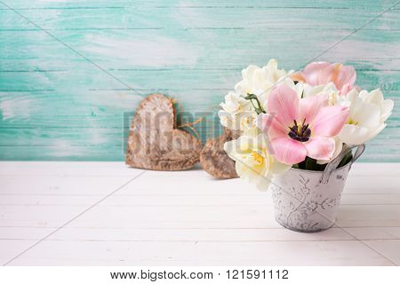 White And Pink  Tulips And Narcissus In Bucket  And Decorative Hearts