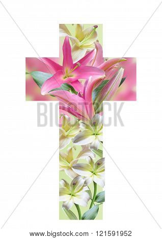 Cross made from lily flowers