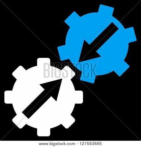 Gear Integration vector icon. Gear Integration icon symbol. Gear Integration icon image. Gear Integration icon picture. Gear Integration pictogram. Flat blue and white gear integration icon.