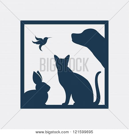Vector Group Of Pets In The Frame - Dog, Cat, Bird, Rabbit, Isolated On A White Background