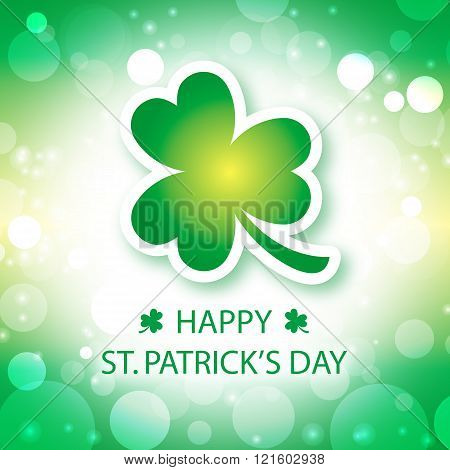 Happy St Patricks Day greeting card with shamrock green background 1