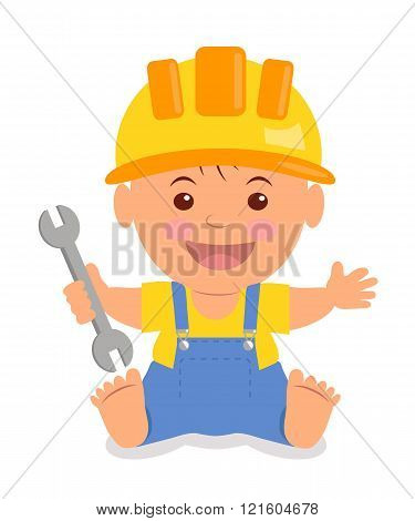 Toddler in the construction hardhat with a wrench in his hand. Isolated child in a helmet, yellow T-